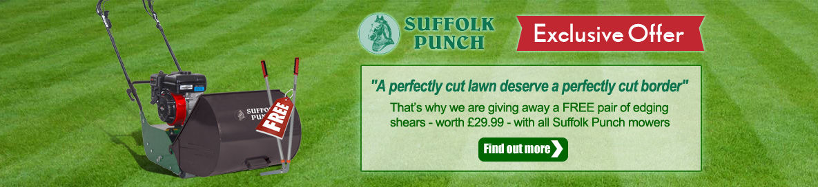 Suffolk Punch cylinder mowers with free edging shears banner