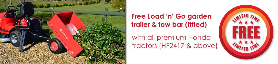 Free Trailer and tow bar/hitch with all premium Honda garden tractors (HF2417 and above)
