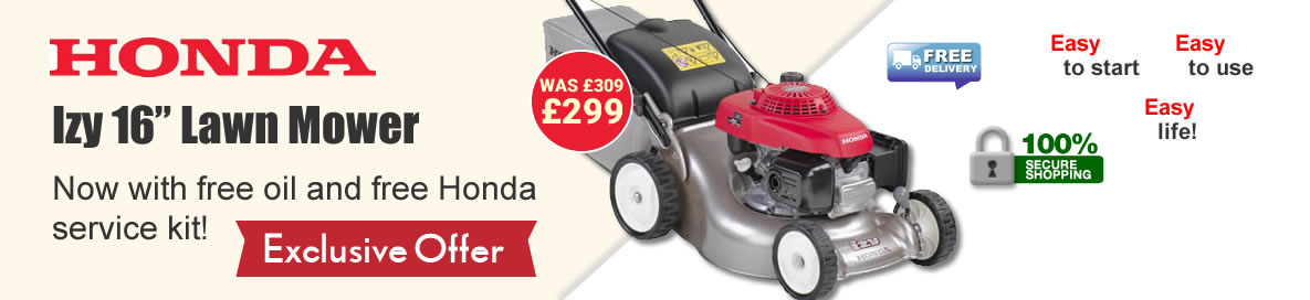 Honda Izy 16 inch lawn mower: now with free oil and free Honda service kit, only £319.00.