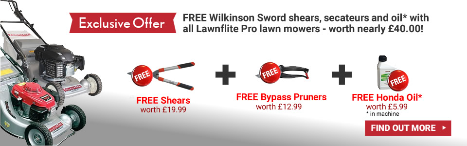 FREE Wilkinson Sword shears, secateurs and oil with this lawn mower - worth nearly £40.00!