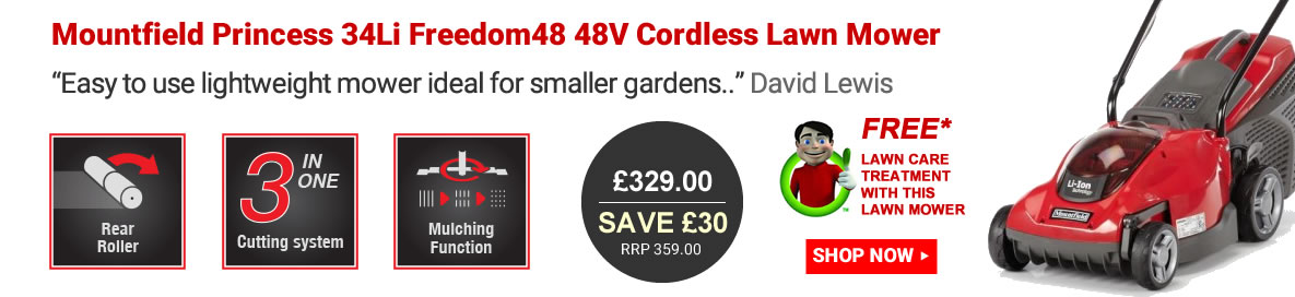 Mountfield Princess 34Li Freedom48 48V cordless lawn mower banner