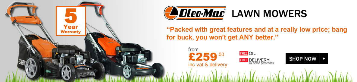 Oleo-Mac Petrol Lawn Mowers offers banner