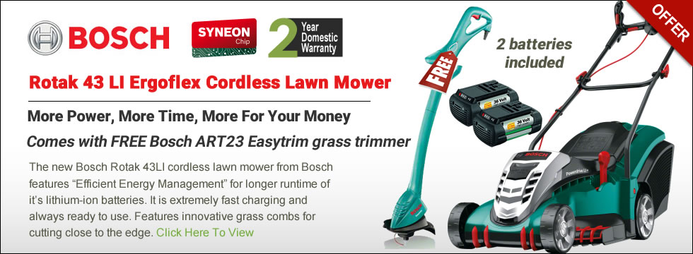 Bosch Rotak 43li cordless lawnmower with free grass trimmer